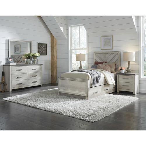 USB Charging Two Drawer Nightstand in Riverwood Brown