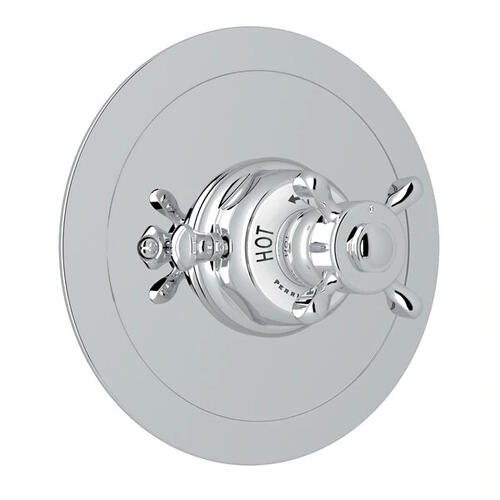Edwardian Era Round Thermostatic Trim Plate without Volume Control - Polished Chrome with Cross Handle