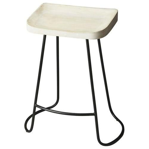 Butler Specialty Company - The intriguing lines of the black wrought-iron base provide the perfect complement to the white-washed finish on the sculpted solid mango wood seat, ensuring this Bar Stool is as stylish as it is practical.