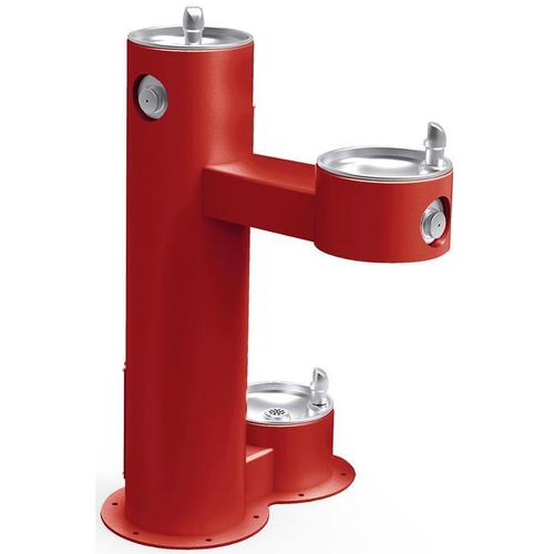 Elkay - Elkay Outdoor Fountain Bi-Level Pedestal with Pet Station, Non-Filtered Non-Refrigerated, Freeze Resistant, Red