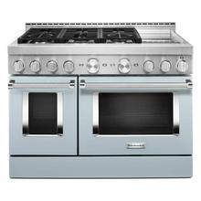 View Product - KitchenAid® 48'' Smart Commercial-Style Gas Range with Griddle - Misty Blue