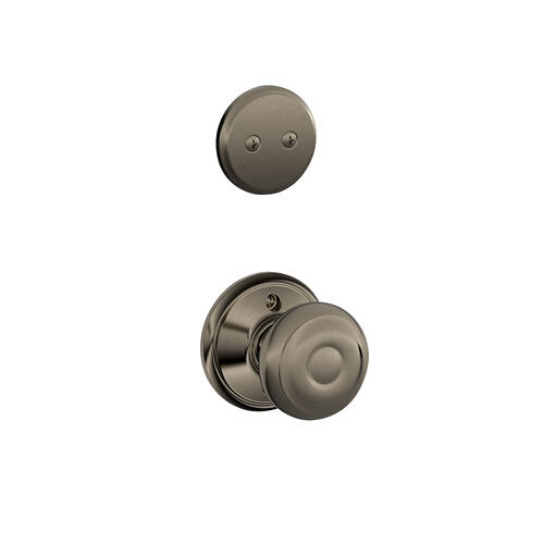 Plymouth In-active Handleset and Georgian Knob - Antique Pewter