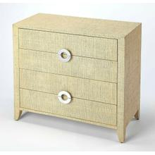 See Details - Add coastal ambiance to any space with this raffia-clad accent chest. Providing abundant storage and stylish contemporary lines, it boasts a cream finish and four drawer with felt-lined bottoms and silver finished crescent drawer pulls - a stunning addition in a bedroom or an entryway.