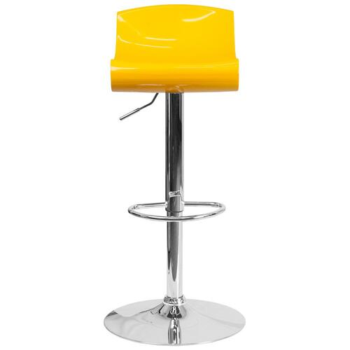 Contemporary Yellow and White Adjustable Height Plastic Barstool with Chrome Base