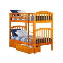Richland Bunk Bed Twin over Twin with Raised Panel Bed Drawers in Caramel Latte