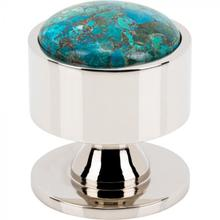 View Product - FireSky Mohave Blue Knob 1 3/8 Inch Polished Nickel Base Polished Nickel