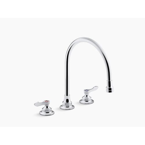 "Polished Chrome 1.5 Gpm Kitchen Sink Faucet With 9-5/16"" Gooseneck Spout, Aerated Flow and Lever Handles"