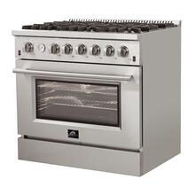 """See Details - Forno - Silver Professional 36"""" Freestanding Gas Range"""
