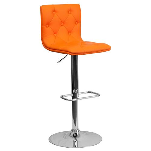Contemporary Tufted Orange Vinyl Adjustable Height Barstool with Chrome Base