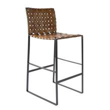 Irving Woven Leather Barstool