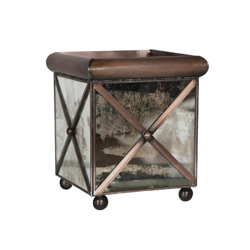 Bring A Touch of French Provencal Living To Your Indoor or Outdoor Garden Room. This Medium Square Planter Is Finished With A Distinctive Crosshatch Pattern and Antique Mirrors On Raised Ball Feet.
