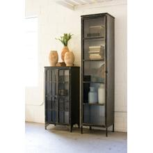 See Details - tall iron and glass apothecary cabinet