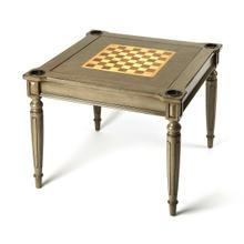 Play a variety of games on this stylish table that is veneered in a Silver Satin finish. The top inset has a game board with maple and walnut veneers for chess and checkers. Flip the inset over and it converts to a green felt-lined blackjack table. Remove the insert altogether and the well (beneath the inset) is a backgammon game board with inlaid veneers of cherry, maple and walnut. Four ashtray shaped cup holders in each corner. Chess and other game pieces are not included.