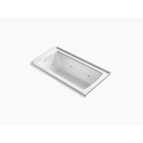 "White 60"" X 30"" Three-side Integral Flange Whirlpool With Heater and Left-hand Drain"