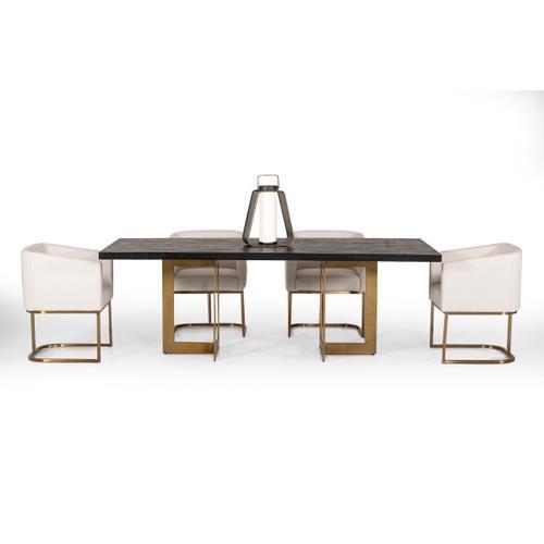 VIG Furniture - Modrest Cheryl Modern Black Acacia & Antique Brass Dining Table