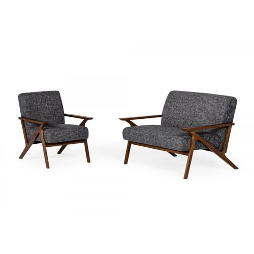 VIG Furniture - Modrest Candea - Mid-Century Walnut and Grey Accent Chair