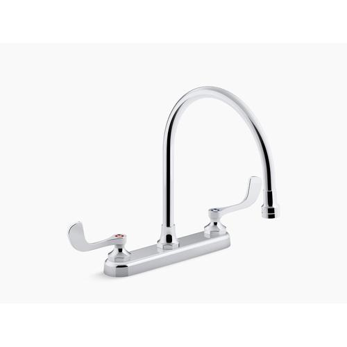 """Polished Chrome 1.8 Gpm Kitchen Sink Faucet With 9-5/16"""" Gooseneck Spout, Aerated Flow and Wristblade Handles"""