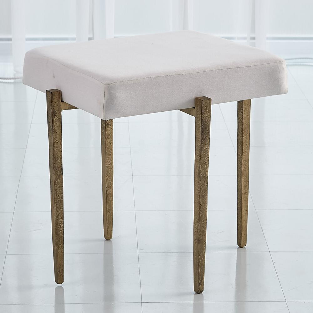 See Details - Laforge Bench-Antique Gold w/Muslin Cushion-Sm