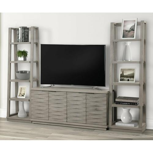 PURE MODERN 63 in. Console w/ Pair of Angled Etagere Bookcase Piers