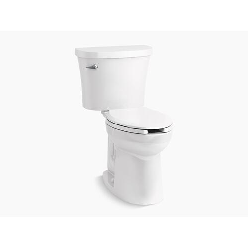 White Two-piece Elongated 1.28 Gpf Chair Height Toilet With Tank Cover Locks and Antimicrobial Finish