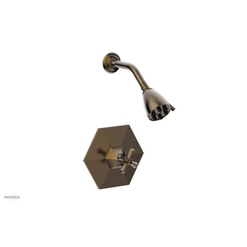 Phylrich - LE VERRE & LA CROSSE Pressure Balance Shower Set - Cross Handle PB3171 - Antique Brass