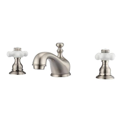 Marsala Widespread Lavatory Faucet with Porcelain Cross Handles - Brushed Nickel