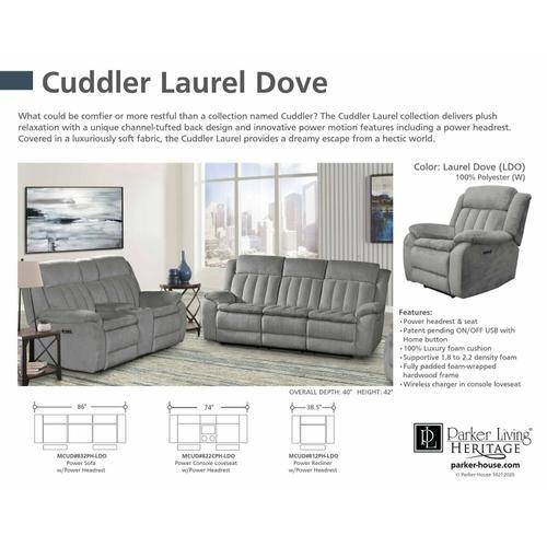 CUDDLER - LAUREL DOVE Power Console Loveseat