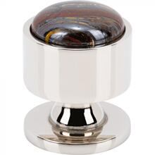 View Product - FireSky Iron Tiger Eye Knob 1 1/8 Inch Polished Nickel Base Polished Nickel