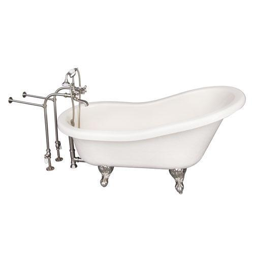 "Estelle 60"" Acrylic Slipper Tub Kit in Bisque - Brushed Nickel Accessories"