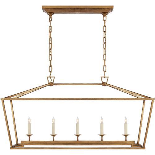 - E. F. Chapman Darlana 5 Light 41 inch Gilded Iron Linear Lantern Ceiling Light
