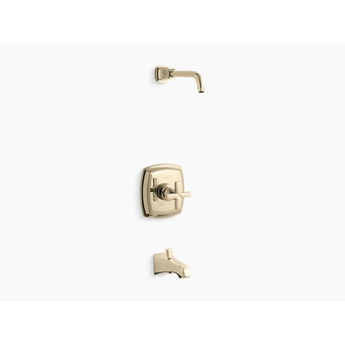 Kohler - Vibrant French Gold Rite-temp Bath and Shower Valve Trim With Cross Handle and Npt Spout, Less Showerhead