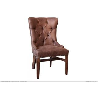 See Details - Upholstered Chair w/Tufted Back, Nailheads - Brown Microfiber