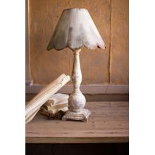 See Details - table lamp \ wood base with rustic scalloped metal shade