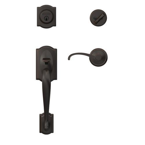 Custom Camelot Single Cylinder Handleset and Interior Whitney Lever with Alden Trim - Matte Black