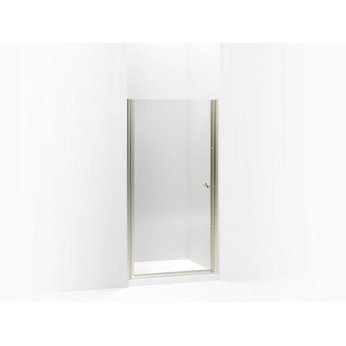 """Crystal Clear With Matte Nickel Frame Pivot Shower Door, 65-1/2"""" H X 37-1/2 - 39"""" W, With 1/4"""" Thick Crystal Clear Glass"""