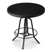 This industrial-look hall table rotates and adjusts to the desired height. Its all-iron construction with a distressed black finish is a distinctive touch in a variety of spaces, and its height-adjustable base provides ultimate function making it equally suitable for use as a pub table.