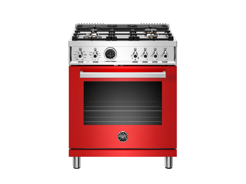 Bertazzoni30 Inch Dual Fuel Range, 4 Brass Burner, Electric Self-Clean Oven Rosso