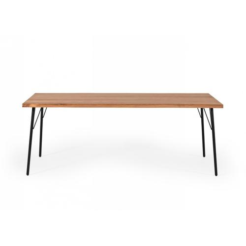 Modrest Barnum - Industrial Oak and Black Iron Live Edge Dining Table