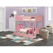 West Furniture Albury Twin Bunk Bed in Pink Finish with Under Drawer