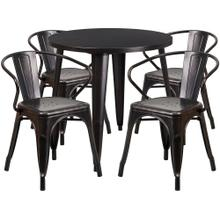 30'' Round Black-Antique Gold Metal Indoor-Outdoor Table Set with 4 Arm Chairs