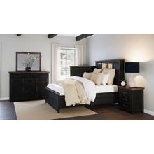 Madison County 5 PC Queen Barn Door Bedroom: Bed, Dresser, Mirror, Nightstand, Chest - Vintage Black