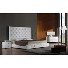 See Details - Modrest Elbrus - White Modern Leather Platform Bed