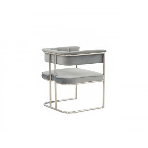 VIG Furniture - Modrest Bavaria - Modern Light Grey & Stainless Steel Dining Chair
