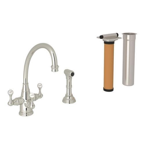 Polished Nickel Perrin & Rowe Georgian Era Filtration 3-Lever Kitchen Faucet With Sidespray with Etruscan Metal Lever