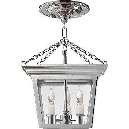 E. F. Chapman Cornice 3 Light 10 inch Polished Nickel Semi-Flush Ceiling Light