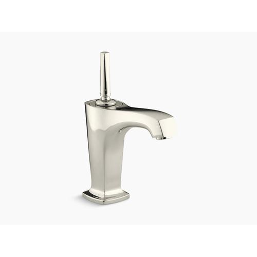 """Vibrant Polished Nickel Single-hole Bathroom Sink Faucet With 5-3/8"""" Spout and Lever Handle"""