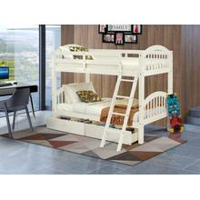West Furniture Verona Twin Bunk Bed in White Finish with Under Drawer
