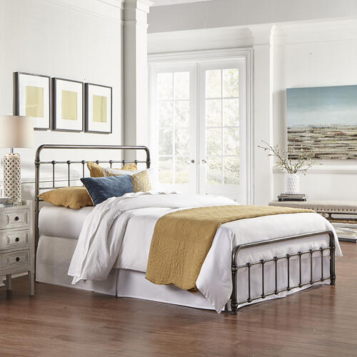 Leggett and Platt - Fremont Metal SNAP Bed with Folding Frame Bedding Support System and Rounded Edge Panels, Weathered Nickel Finish, Full