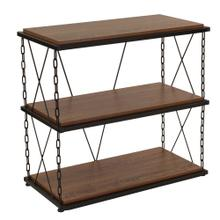 See Details - Antique Wood Grain Finish Two Shelf Bookshelf with Chain Accent Metal Frame