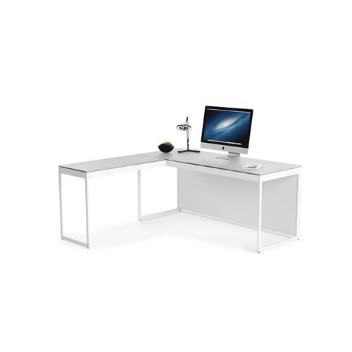 BDI Furniture - Centro 6402 Return in Satin White Painted Oak Grey Glass